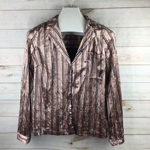Forever 21 pink striped long sleeve velvet blouse
